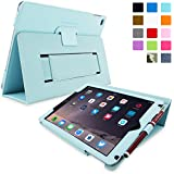 Snugg iPad Air 2 Case - Smart Cover with Flip Stand & Lifetime Guarantee (Baby Blue Leather) for Apple iPad Air 2 (2014)