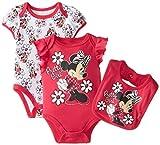 Disney Baby Baby-Girls Newborn Minnie Mouse 3 Piece Soft Bodysuit and Bib Set