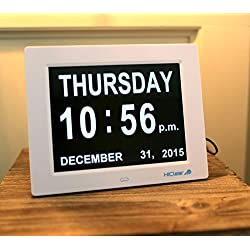Dementia, Alzheimer's, Memory Loss Digital Calendar Day Clock for Elderly Seniors with Extra Large Day and Bright Font