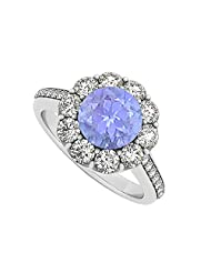 925 Sterling Silver December Birthstone Tanzanite And Cubic Zirconia Halo Engagement Ring