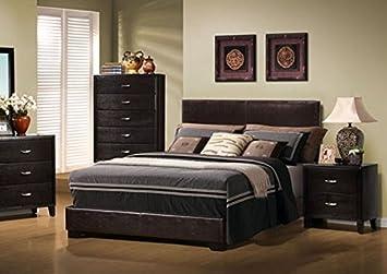 Monarch Dark Brown Leather-Look Queen Size Bed