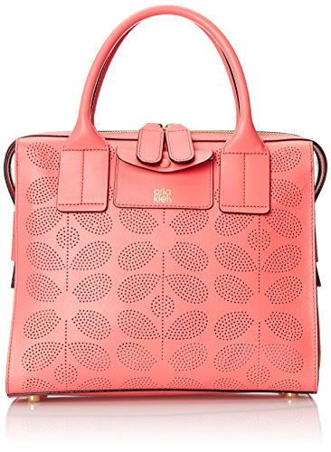 Orla Kiely Sixties Stem Punched Leather Margot Bag, Pink, One Size