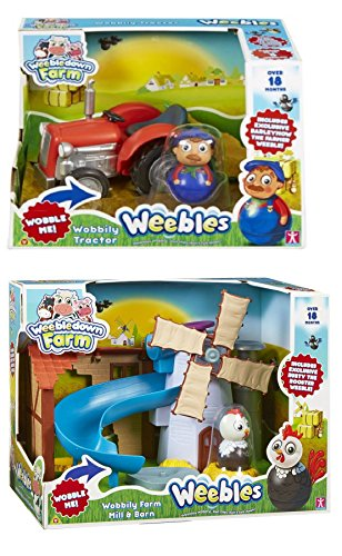 WEEBLEDOWN FARM BUNDLE - Weebledown Farm Wobbily Farm Mill & Barn AND Weebledown Farm Wobbily Tractor, Includes Exclusive Farmer Weeble - 2 ITEMS SUPPLIED (Dispatched From UK)