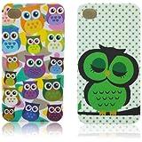 Apple iPhone 4 4S TPU Silikon 2x SET Süße Eulen Owl Design Schutz Handy Hülle Case Tasche Etui Bumper thematys®
