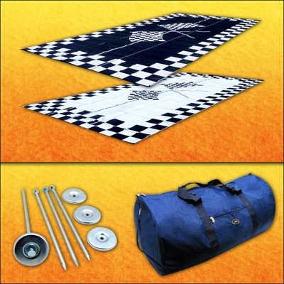 RV Patio Mat Awning Mat Outdoor Rug Trailer Mat Complete Kit 9x18 (Finish Line Flags)