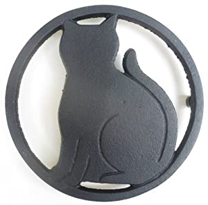 Black Cat Metal Trivet with Feet for Kitchen or Dining Table - Metal Looks and Feels Like... by Black Cat Trivet