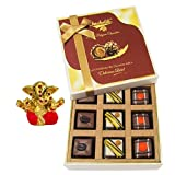 Chocholik Belgium Chocolates - 9pc Divine Assorted Treat To Your Friend With Small Ganesha Idol - Diwali Gifts