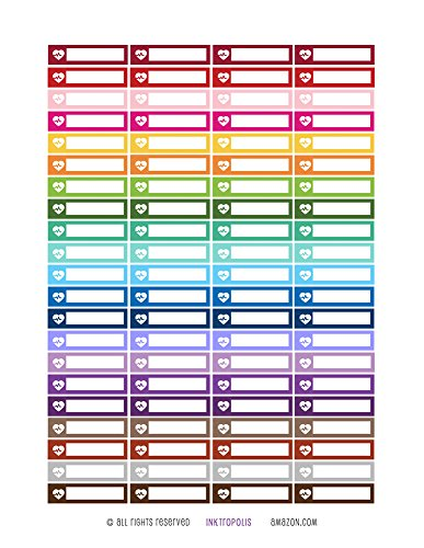 Monthly Planner Stickers Rainbow Heart Rate Stickers Planner Labels Compatible with Erin Condren Vertical Life Planner