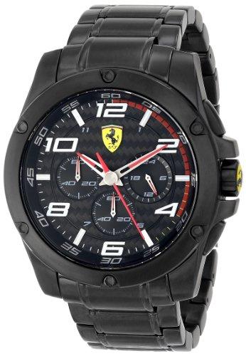 Ferrari 830033 - Reloj para hombres, correa de acero inoxidable color negro