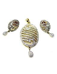 Poddar Jewels Cubic Zirconia Designer Pendant Set - B00S9H94EO