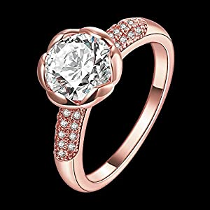 MAZU Zircon Ring AA+ Quality Top050 Color Rose Gold Size 8 from MAZU