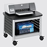 Safco Products 1855BL Scoot Underdesk Printer Machine Stand, Black/Silver