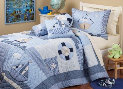 Cotton Sailboat Bedding for Boys