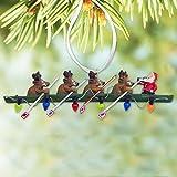 Crew Ornament - Rowing Santa and Reindeer - Resin Christmas Ornament