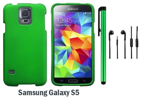 Samsung Galaxy S5 Premium Design Protector Hard Cover Case (2014 March Released; Carrier: Verizon, At&T, T-Mobile, Sprint) + 3.5Mm Stereo Earphones + 1 Of New Assorted Color Metal Stylus Touch Screen Pen (Dark Green)