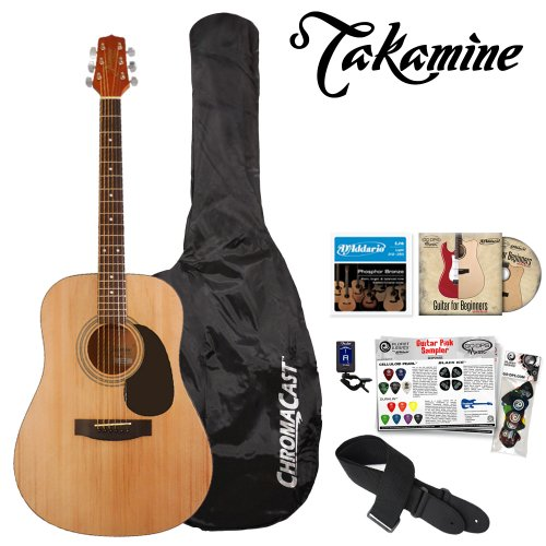 Jasmine by Takamine JF-S35-KIT Acoustic Dreadnought Guitar with Tuner, Guitar Bag, Strings, DVD and Pick Sampler