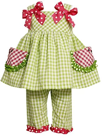 Bonnie Baby Baby-girls Infant Watermelon Pockets Seersucker Capri Set, Green, 24 Months
