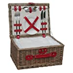 Retro Red Leather 2 Person Fitted Wicker Picnic Hamper Basket