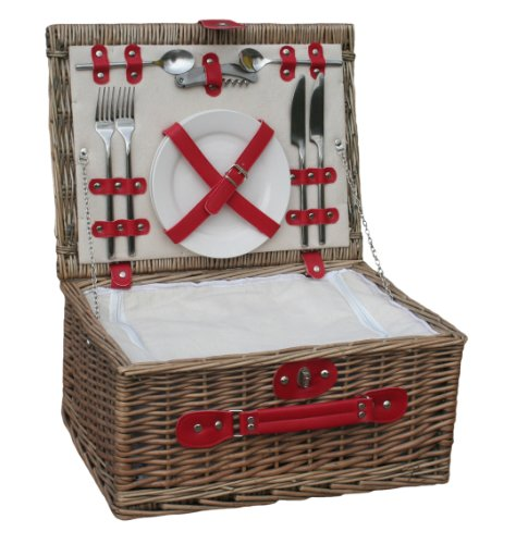 Retro Red Leather 2 Person Fitted Wicker Picnic Hamper Basket 0