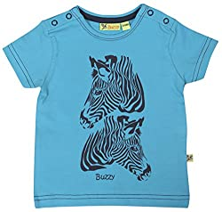 Buzzy Baby Boys' 9-12 Months Cotton T- Shirt (Turquoise)