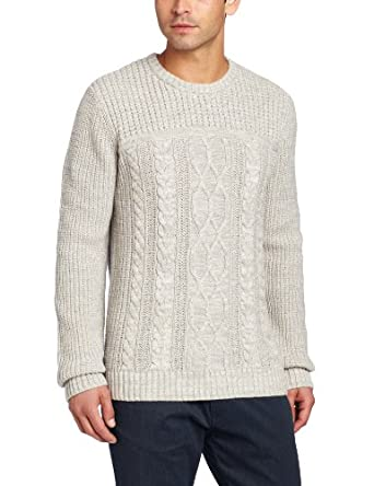 (疯抢)CK Jeans Men's Crew-Neck Cable Sweater卡文克莱羊毛混纺针织毛衣 月岩$40.28