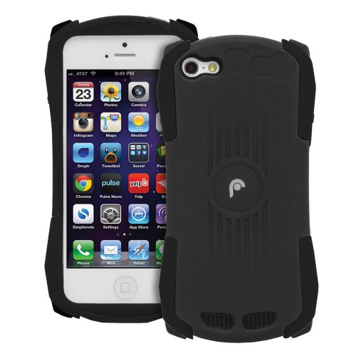 Fosmon Hybo Hybrid Shock Absorbing Silicone + Durable Hard Case With Holster For Apple Iphone 5 / 5S (Black / Black) front-976853