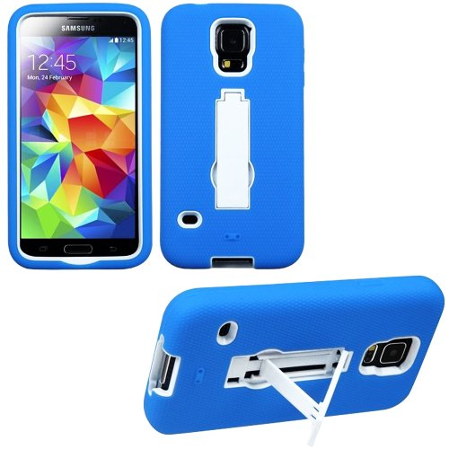 Mylife (Tm) Electric Sky Blue And Bright White - Shock Suit Survivor Series (Built In Kickstand + Easy Grip Silicone) 3 Piece + 2 Layer Case For New Galaxy S5 (5G) Smartphone By Samsung (External Flex Silicone Bumper Gel + Internal 2 Piece Rubberized Snap