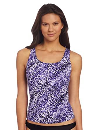 Speedo Women's Bias Dots Ultraback Endurance+ Tankini Top, Ultraviolet, 14