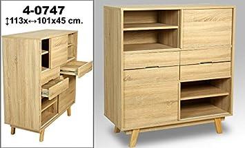 DonRegaloWeb - Comoda de madera de roble con puertas y cajones decorada en color roble