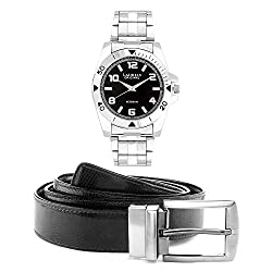 Laurels Analog Black Dial Men's Watch With Belt- (Polo-502 Bt-01)