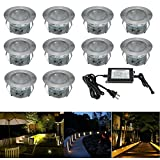 Low Voltage LED Deck Lighting Kit Stainless Steel Waterproof Outdoor Landscape Garden Yard Patio Step Decoration Lamps LED In-ground Lights, Pack of 10(Warm White)