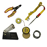 TONI 6 in1 Electric Soldering Iron Stand Tool Wire Stripper Kit 25W Welding Stick Set