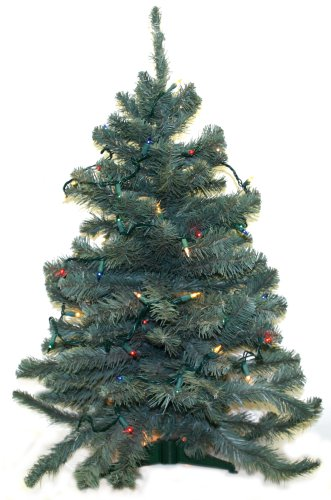 3-Feet Tall Norway Blue Spruce Artificial Prelit Christmas Tree
