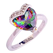 buy Psiroy 925 Sterling Silver Fashion Heart Shaped Rainbow Topaz Cubic Zirconia Cz Promise Filled Ring