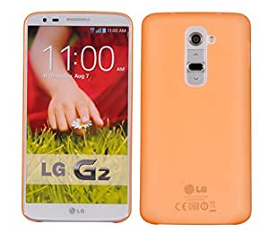 LG G2 D802T Back cover, PP [0.35mm] Ultra-Thin / Slim [ Perfect Fit ] Thinnest Hard Protect Case Back Cover Bumper [ Semi-transparent ] Lightweight for LG G2 (D802T) (Orange)
