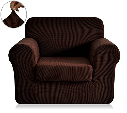 Chunyi 2-Piece Jacquard Polyester Spandex Sofa Slipcover (Chair, Chocolate) (Chocolate Brown Chair compare prices)