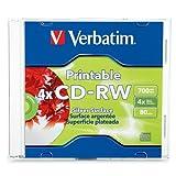 Verbatim 700 MB 2x-4x DataLifePlus Silver Inkjet Printable Rewritable Disc CD-RW, 1-Disc Slim Case 95160