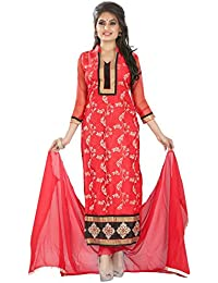 Yehii Semi Stitched Salwar Suit For Women Free Size Party Wear Dress Material Red | Net , Santoon , Chiffon Salwar...