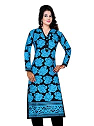 Spangel Fashion Blue Colour Choice Women's Cotton Stitched Kurti (X-Large)
