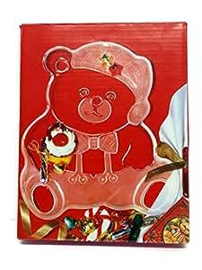 Mikasa Crystal Vintage Holiday Bear Platter 2-tone NIB