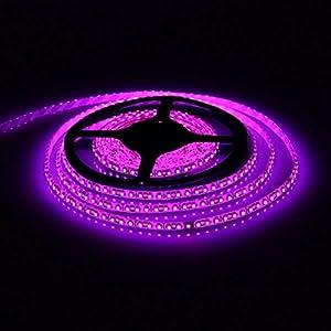 E-Goal 16.4FT 5M SMD 3528 Waterproof Double Density 600LEDs Pink LED Flash Strip Light ,LED Flexible Ribbon Lighting Strip,12V by E-Goal