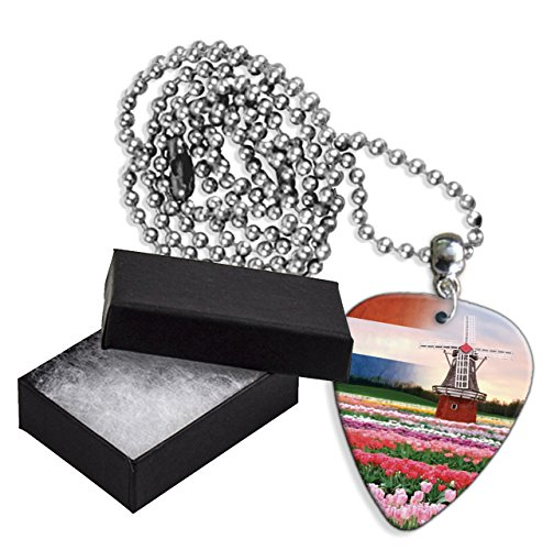 Netherlands Windmill Tulips Boxed Metal Chitarra Pick Necklace Collana (GD)