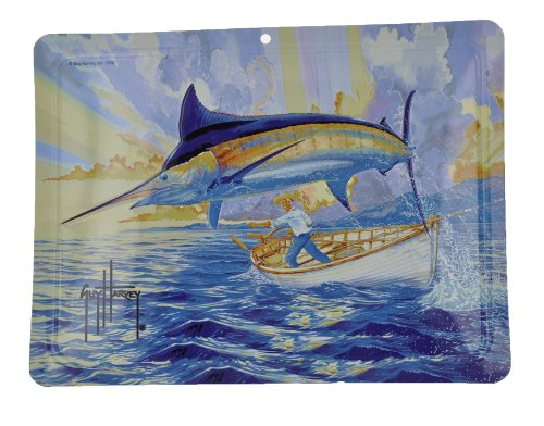 Authentic Guy Harvey Aluminum Art, Old Man and The Sea, 12 Inches x 9 Inches
