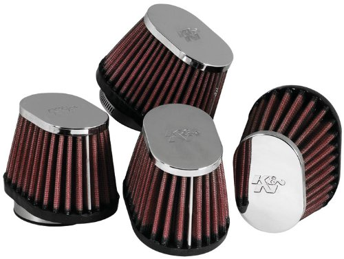 K & N Engineering Clamp-On Custom Oval Tapered Air Filter - Chrome End Cap RC-1824 247067638