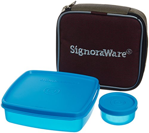 Signoraware Nano Twin Smart Lunch Box with Bag, T Blue