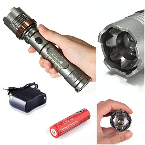 1Pc Glittering Modern 5 Mode LED Flashlight 2000Lm Police Torch Rechargeable Tactical Light Color Gray with Battery Charger