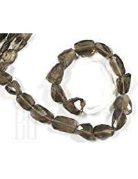Be You Grey Brown Color Natural Scottish Smoky Quartz Gemstone Faceted Tumble Shape Beads 1 Line Loose 12-15 Inch...