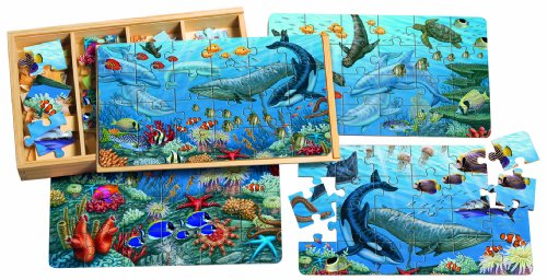 T.S. Shure Ocean Life Puzzles in a Wooden Box (4 Puzzles)