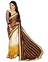 AG Lifestyle Brown Chiffon & Satin Pallu Saree With Unstitched Blouse SAV4203B