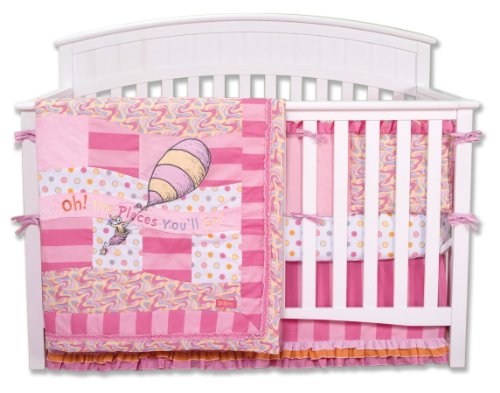 Trend Lab Dr. Seuss 4 Piece Crib Bedding Set, Oh! the Places You'll Go! Pink